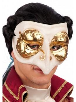 Masque loup vénitien blanc et or