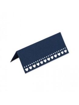 10 Marque places coeurs bleu marine  9,5x4cm
