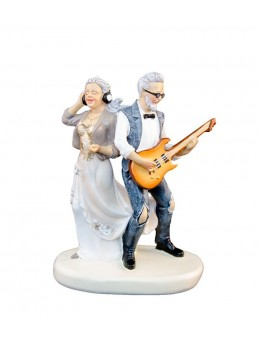 Figurine couple mariés Noces d'or guitare