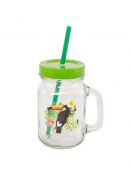Jar en verre avec couvercle et paille motif toucan