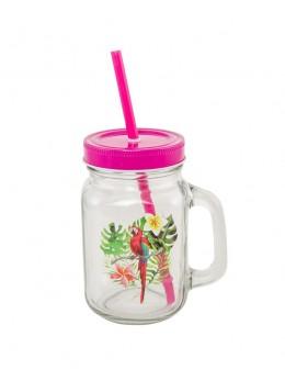 Jar en verre avec couvercle et paille motif perroquet