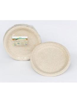 50 Assiettes pulpe de blé compostable 23 cm