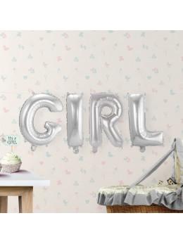"""Ballon lettre """"Girl"""" argent"""