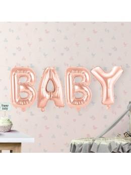 "Ballon lettre ""Baby"" rose gold"