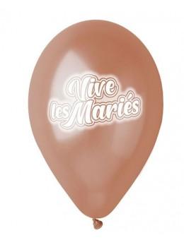 10 Ballons 30cm transparent Vive les mariés rose gold