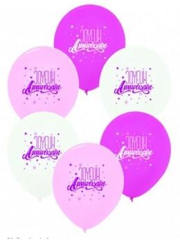 6 Ballons anniversaires roses et blanc