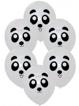 6 ballons blanc petits panda