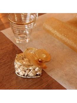 Sachet de 2 bonbonnière cœur or
