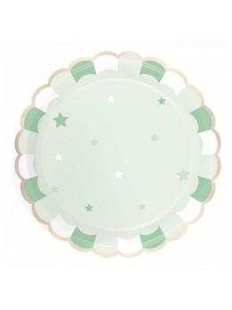 8 Assiettes carton berlingot vert pastel