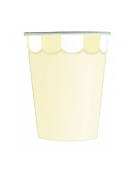 8 Gobelets berlingot jaune pastel