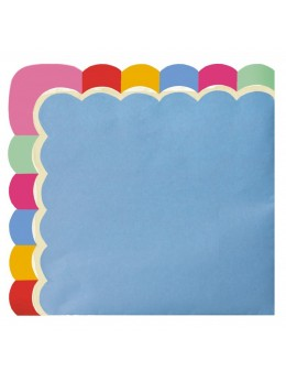 16 Serviettes papier bleu berlingot multicolore