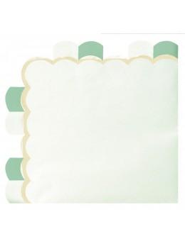 16 Serviettes papier berlingot vert pastel