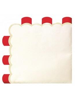 16 Serviettes papier berlingot rouge vintage