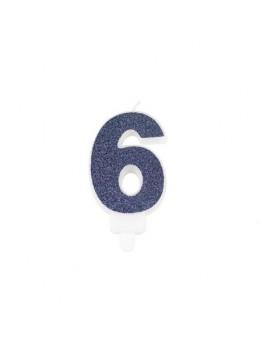 Bougie chiffre 6 bleu
