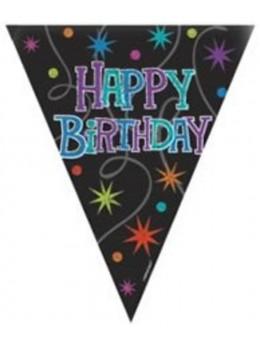 Guirlande happy birthday noire aux dessins colorés