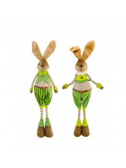 Décoration lapin verts/brun