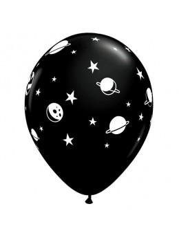 10 ballons noirs motif planète