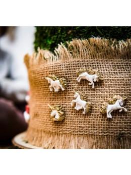 6 licornes résine paillettes adhésif 3cm