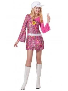 déguisement femme hippie rose