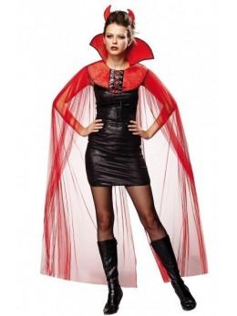 déguisement cape col diablesse rouge