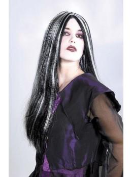 Perruque sorcière noire et blanche
