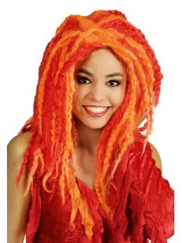 Perruque calypso orange et rouge