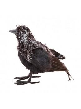 Corbeau plumes noir et argent 25cm