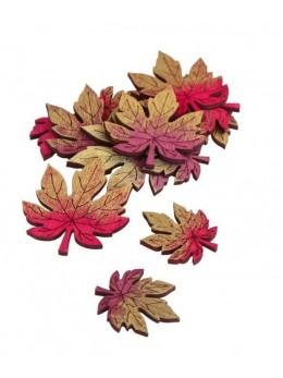 8 Confetti bois feuilles d'Automne 4.5cm