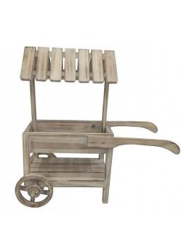 Petit chariot bois 2 niveaux 61cm