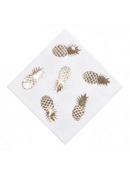 16 Serviettes papier ananas dorées
