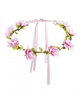Bandeau à fleurs rose