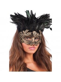 Masque loup vénitien rococo avec plumes