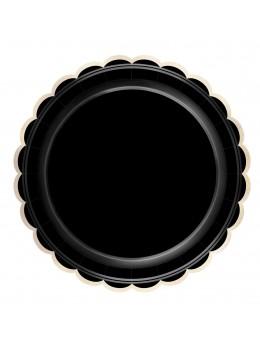 8 Assiettes carton festonnées noir et or