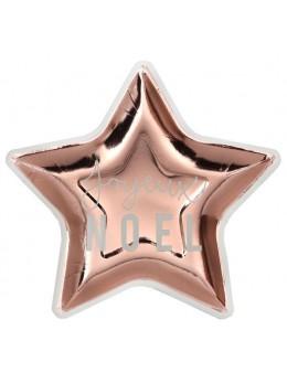 10 assiettes étoiles Joyeux Noël rose gold