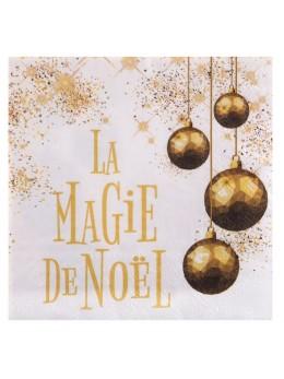 20 serviettes papier magie de Noël or
