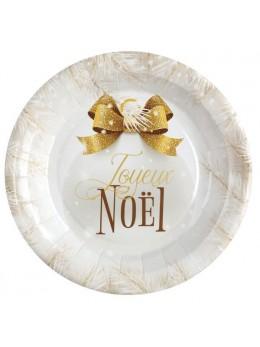 10 assiettes boules de Noël or