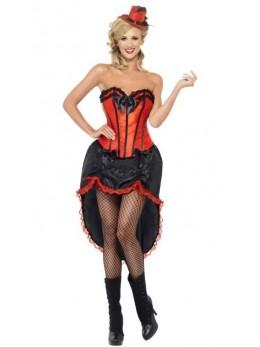 Déguisement danseuse burlesque rouge et noir