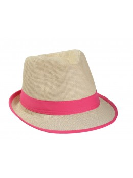 Borsalino paille bandeau rose fluo