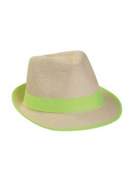 Borsalino paille bandeau vert fluo
