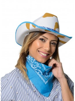 Chapeau cowboy fantaisie bleu